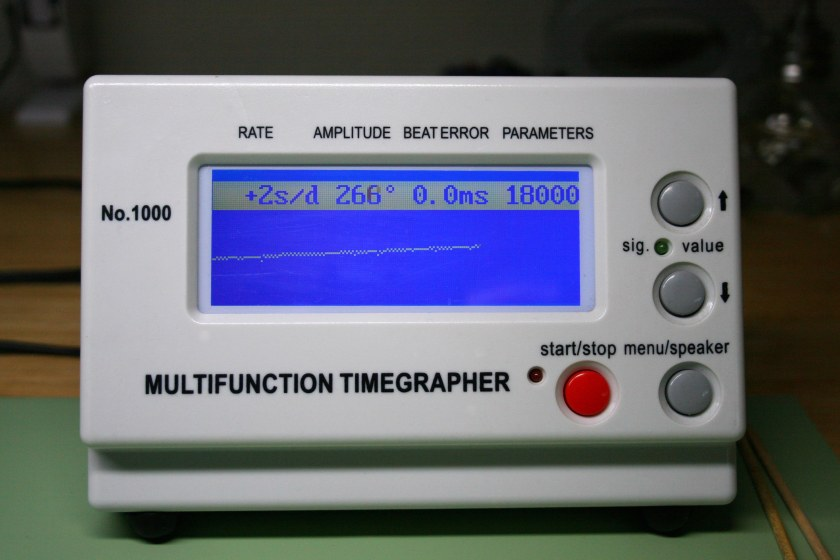 Timegrapher reading of 2 seconds per day and 266 degrees of amplitude